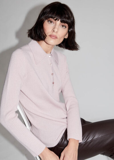 ALYKI - C1202 - Polo sweater with little ribbed mesh - 001
