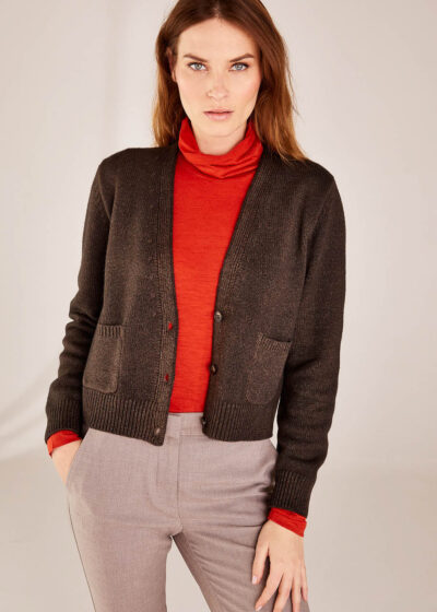 BASE WOMAN - B5469 - Cashmere Blend Cardigan with Pockets - 001
