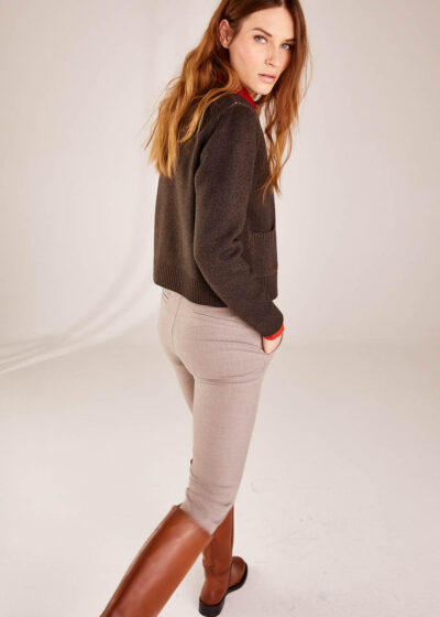 BASE WOMAN - B5469 - Cashmere Blend Cardigan with Pockets - 002