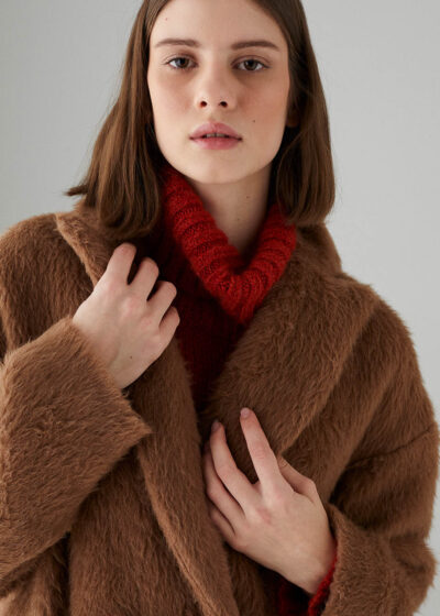 ROSSO35 - S5748A - Double-breasted baby Lama coat - 001