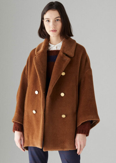 ROSSO35 - S5752A - Double-breasted short alpaca coat - 001