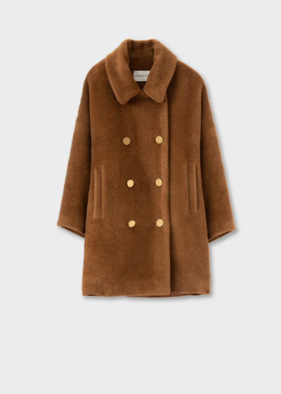 ROSSO35 - S5752A - Double-breasted short alpaca coat - 002
