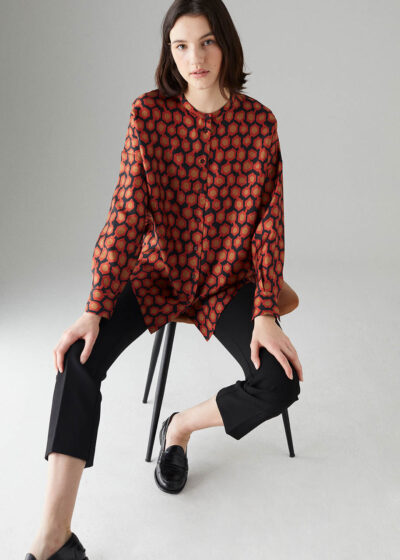 ROSSO35 - S5862B - Silk-printed oversize blouse - 001