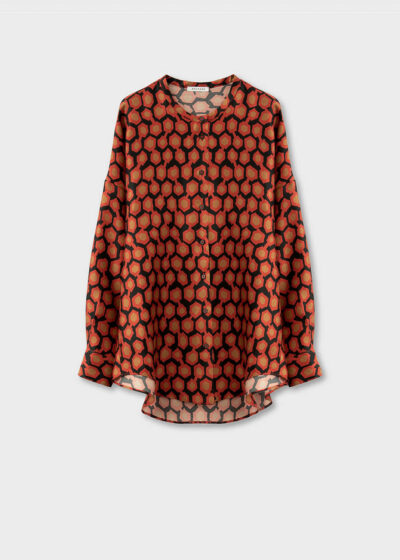 ROSSO35 - S5862B - Silk-printed oversize blouse - 002