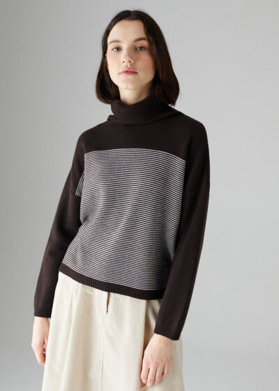 ROSSO35 - S5883MG - Cachemire blend striped sweater - 001