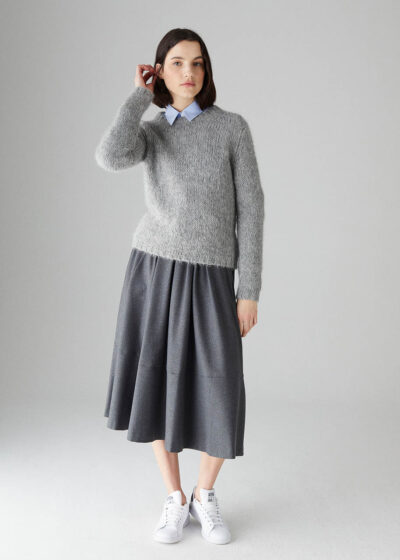 ROSSO35 - S5885MG - Soft Alpaca blend fitted sweater - 001