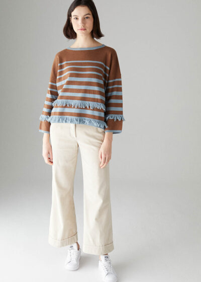ROSSO35 - S5901MG - Wool-silk-cachemire striped and fringed sweater - 001