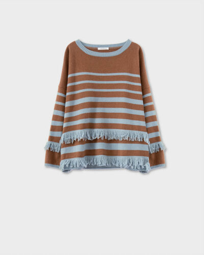 ROSSO35 - S5901MG - Wool-silk-cachemire striped and fringed sweater - 002