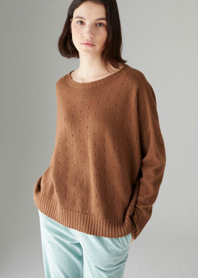 ROSSO35 - S5906MG - Wool-silk-cachemire detailed sweater - 001