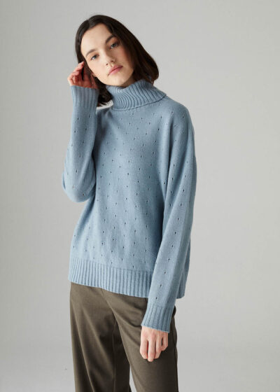 ROSSO35 - S5907MG - Wool-silk-cachemire detailed sweater - 001