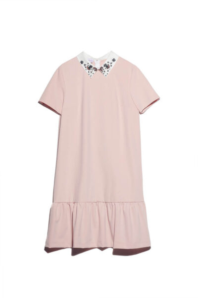 ANNAMARIA PALETTI - FEDORA - Dress with solid color fabric WITH white jewel collar - 001