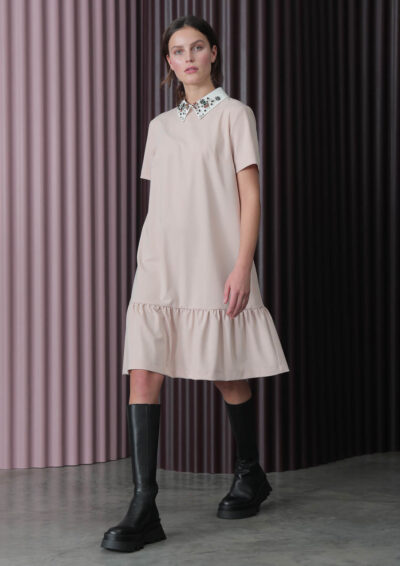 ANNAMARIA PALETTI - FEDORA - Dress with solid color fabric WITH white jewel collar - 002