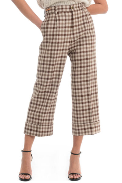 BERWICH WOMAN - 2021 - Trousers with two pleats. wide leg with turn-up - 001