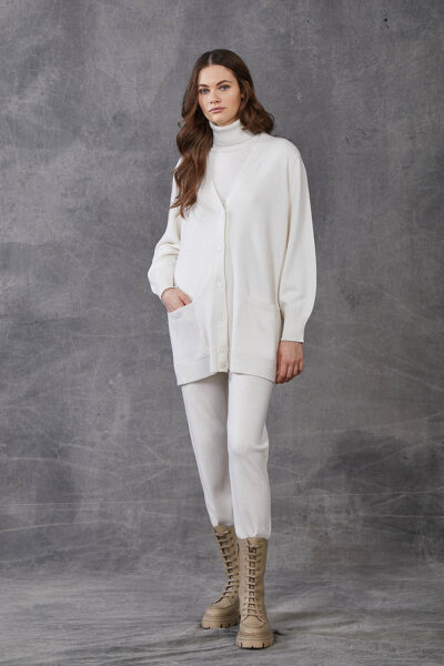 KANGRA WOMAN - W2_A_3511_04 - knit cardigan with pockets and buttons - 001