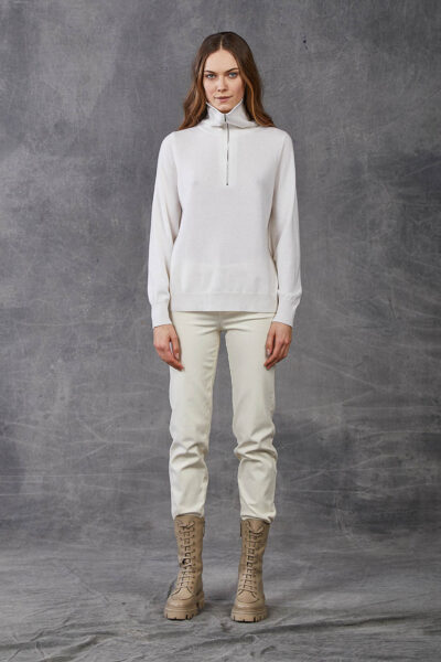 KANGRA WOMAN - W2_A_3511_60 - plain knit fashioned  camionaire collar - 001