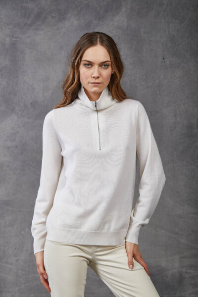 KANGRA WOMAN - W2_A_3511_60 - plain knit fashioned  camionaire collar - 002