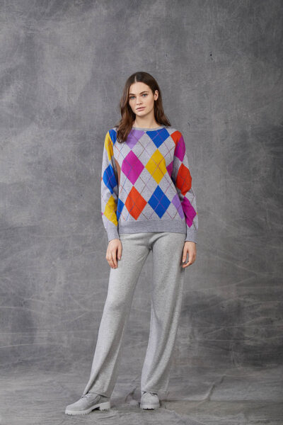 KANGRA WOMAN - W2_A_3555_01 - crew neck with colou red rhombus pattern - 001