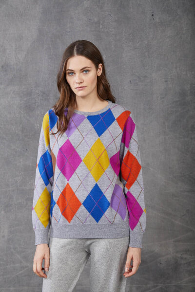 KANGRA WOMAN - W2_A_3555_01 - crew neck with colou red rhombus pattern - 002