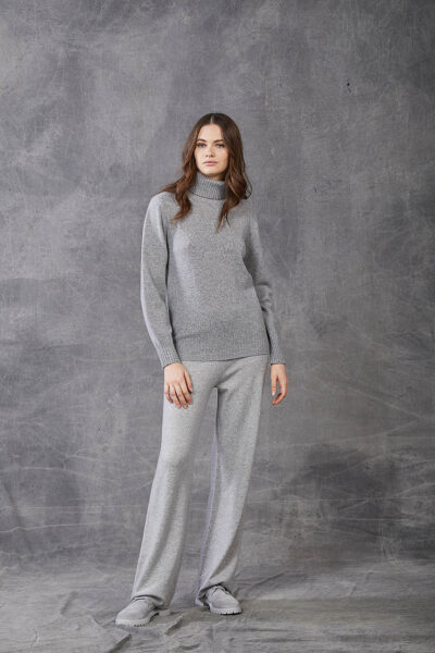 KANGRA WOMAN - W2_A_3644_05 - plain knit roll-neck  with wide sleeves - 001