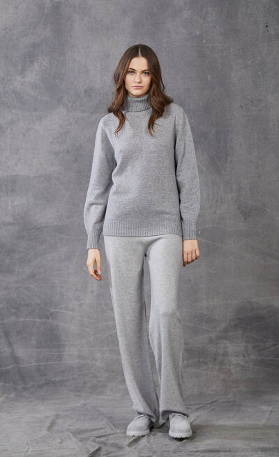 KANGRA WOMAN - W2_A_3644_05 - plain knit roll-neck  with wide sleeves - 002
