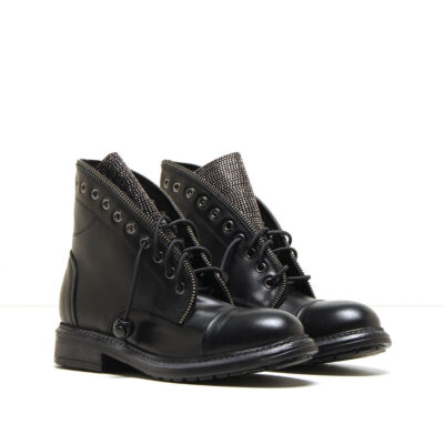 MICHELE LOPRIORE - 206strass - Leather combat boots with jewelled details - 001