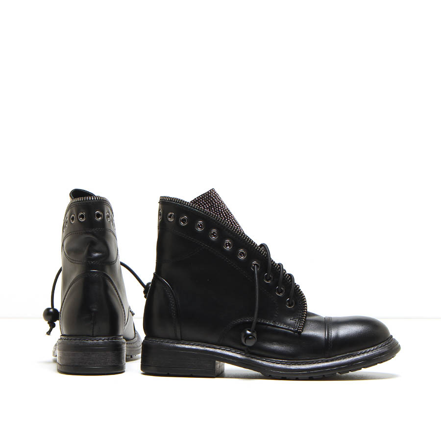 MICHELE LOPRIORE - 206strass - Leather combat boots with jewelled details - 002