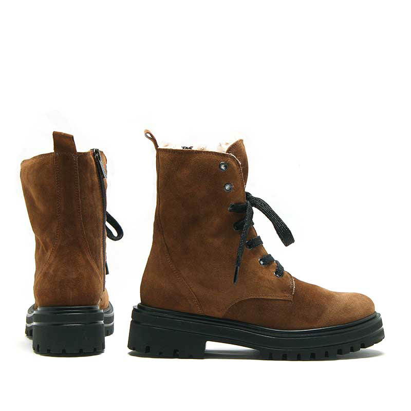MICHELE LOPRIORE - 532 - Nappa leather combat boots with eco-furry soul - 002