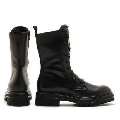 MICHELE LOPRIORE - 7041IN - Leather jewelled combat boots - 001