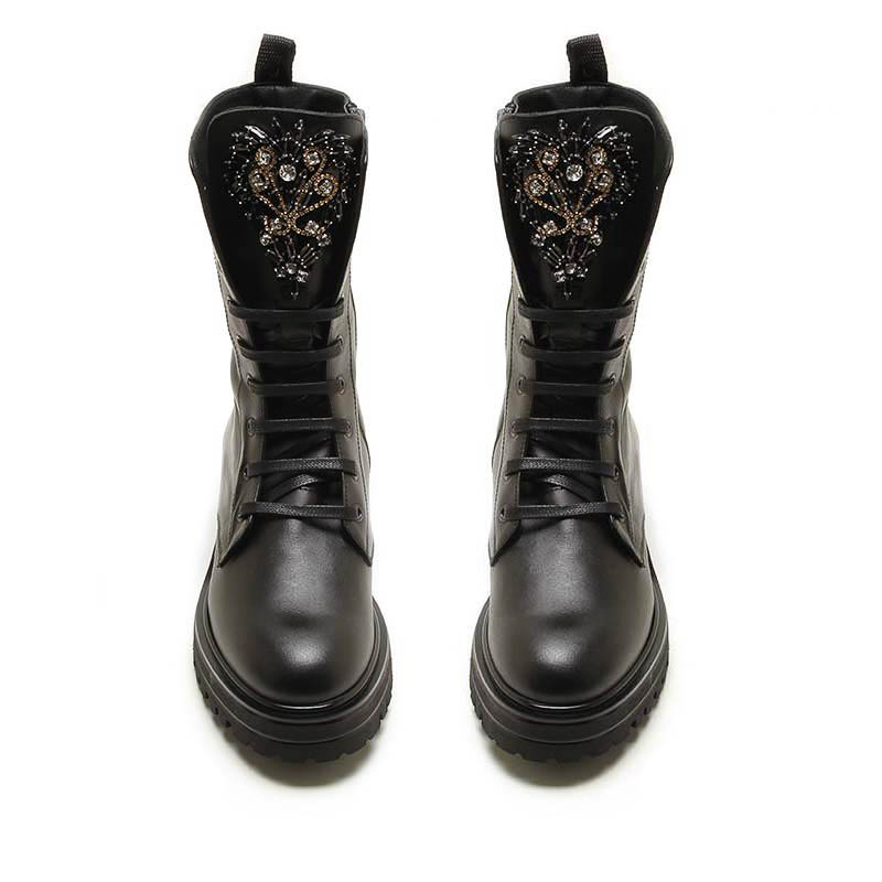 MICHELE LOPRIORE - 7041IN - Leather jewelled combat boots - 002