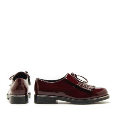 MICHELE LOPRIORE - 7050 - Patent leather lace-up shoes with studded fringe - 001