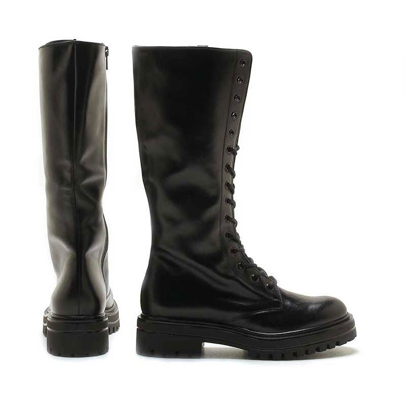 MICHELE LOPRIORE - 7113 - To-the-knee leather combat boots - 002