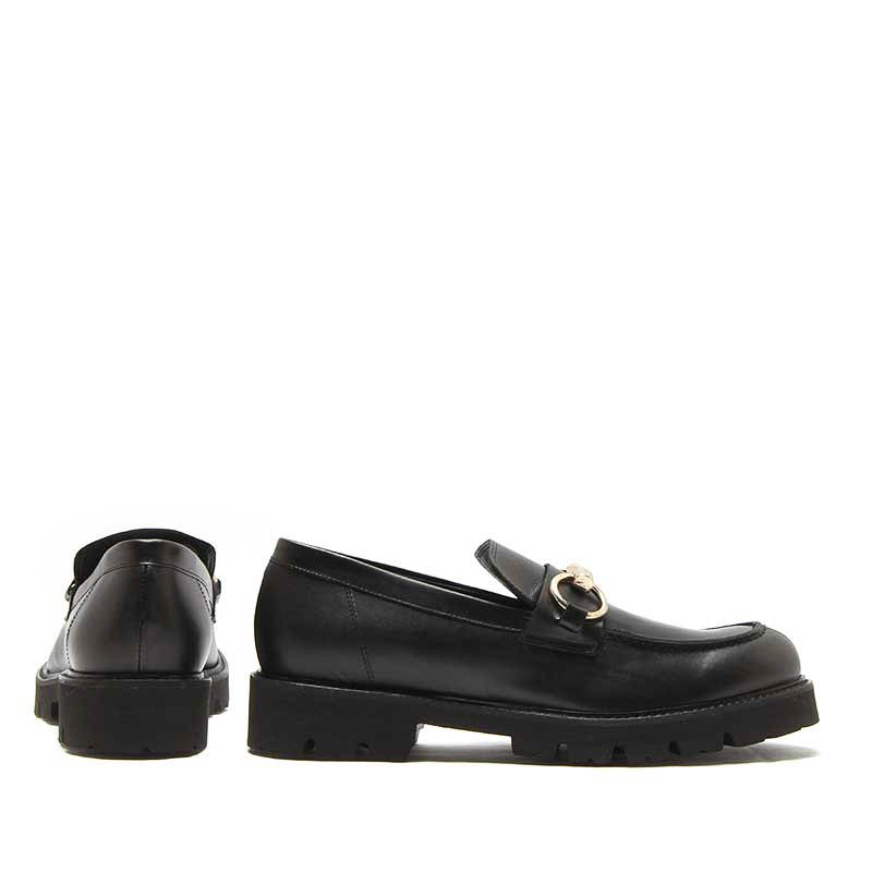 MICHELE LOPRIORE - 7116IN - Leather loafer with buckle - 002