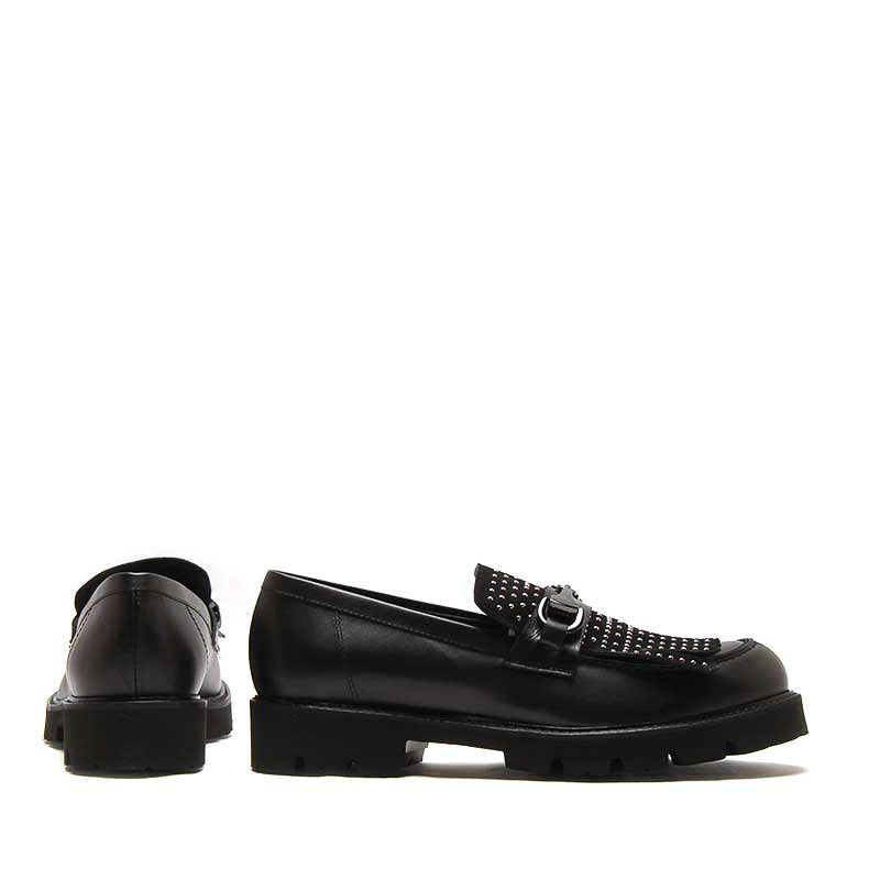 MICHELE LOPRIORE - 7120IN - Leather loafer with suede studded fringe and buckle - 002