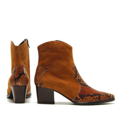 MICHELE LOPRIORE - A45025 - Cowboy suede and printed leather boots - 001