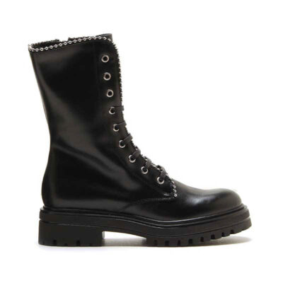 MICHELE LOPRIORE - BERLIN - Nappa leather combat boots with studs profile - 001