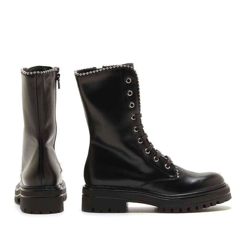 MICHELE LOPRIORE - BERLIN - Nappa leather combat boots with studs profile - 002