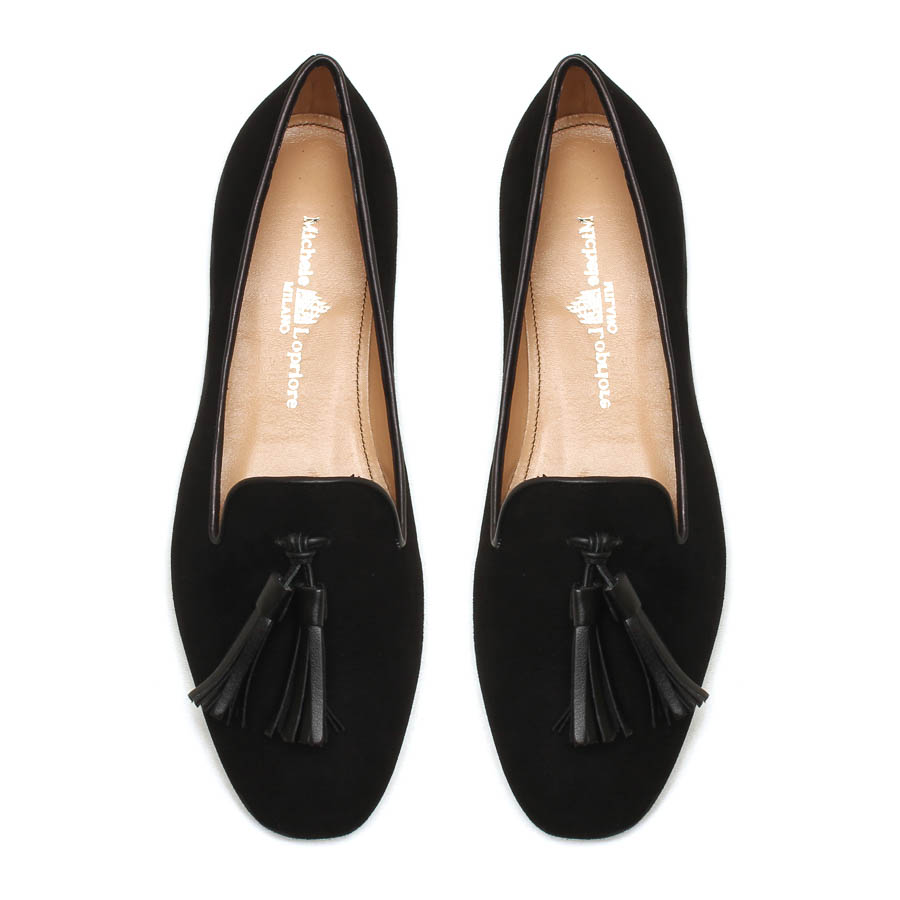 MICHELE LOPRIORE - E33313N - Leather slippers with leather tassels - 003