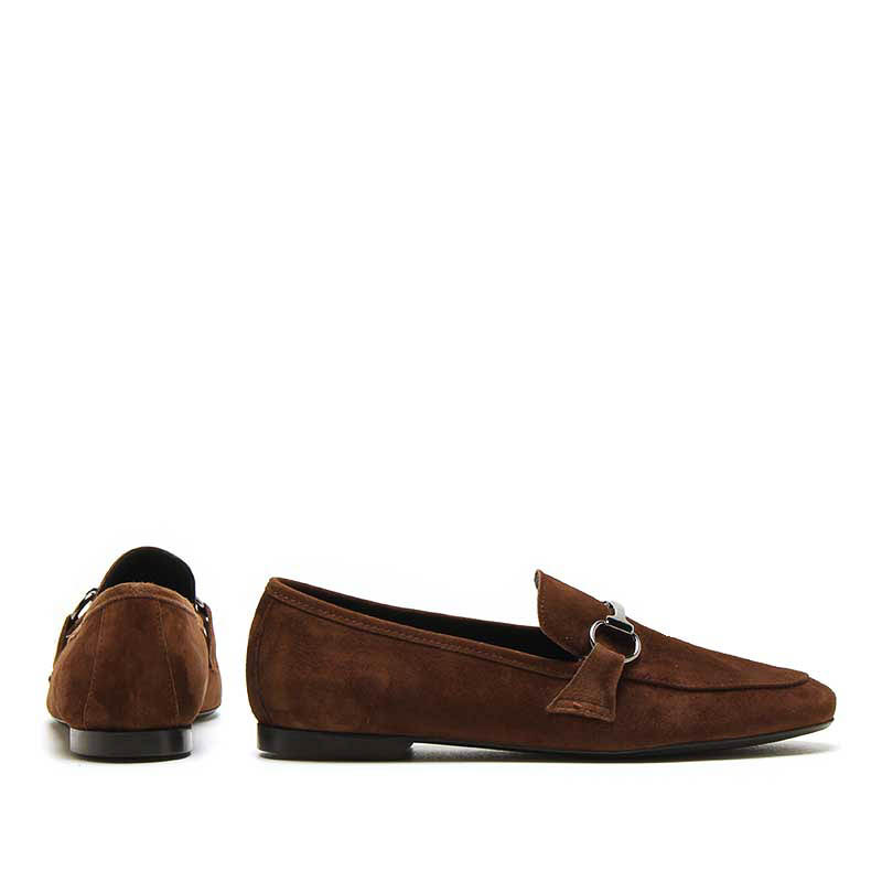 MICHELE LOPRIORE - Q595 - Hard-suede loafer with buckle - 002