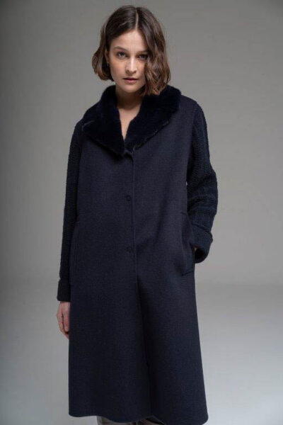 MANZONI 24 - 21M307 - L.Piana cashmere coat with mink colar and knitted sleeves - 001