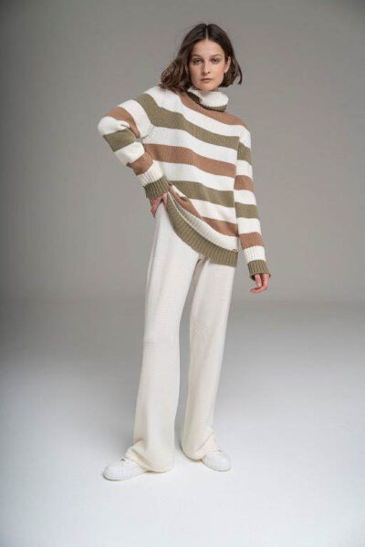 MANZONI 24 - 21M348 - Striped knitted cashmere rollneck - 001