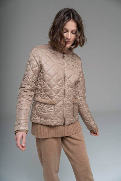 MANZONI 24 - 21M388 - Quilted cashmere nylon jacket with mink trimming - 001