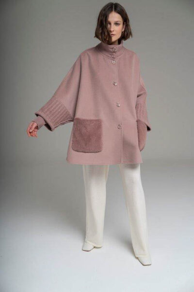 MANZONI 24 - 21M775 - L.Piana cashmere cape with mink pockets and knit - 002