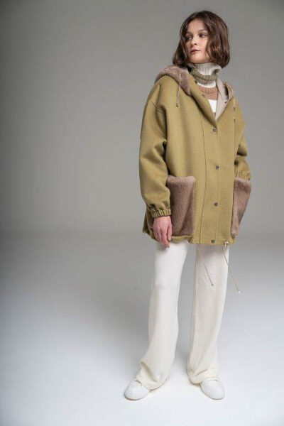 MANZONI 24 - 21M824 - L.Piana cashmere coat with hood and pockets mink - 001