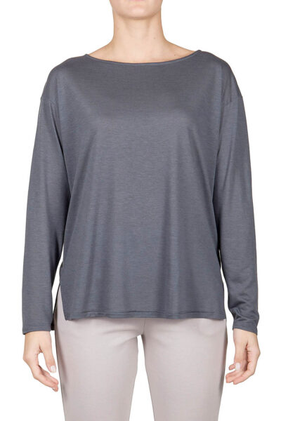 PUROTATTO - 1203 - Boat neck long-sleeved t-shirt