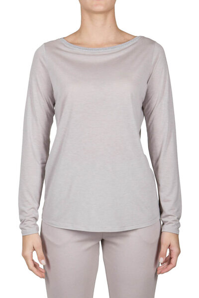 PUROTATTO - 1204 - Boat neck long-sleeved t-shirt