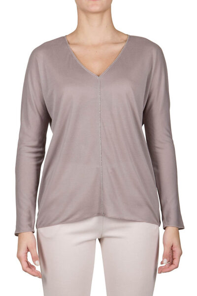 PUROTATTO - 1311 - V-neck long-sleeved blouse embellished by chain - 001