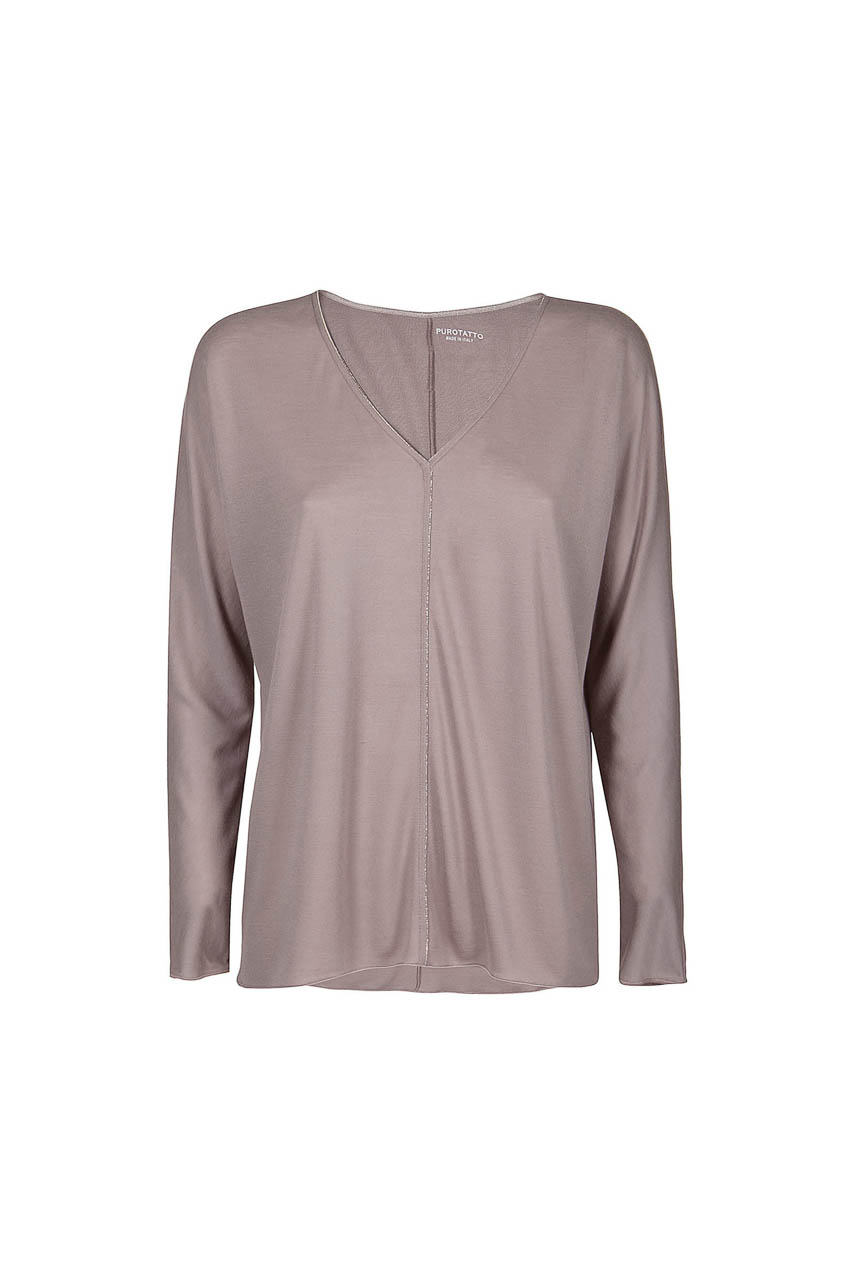 PUROTATTO - 1311 - V-neck long-sleeved blouse embellished by chain - 002
