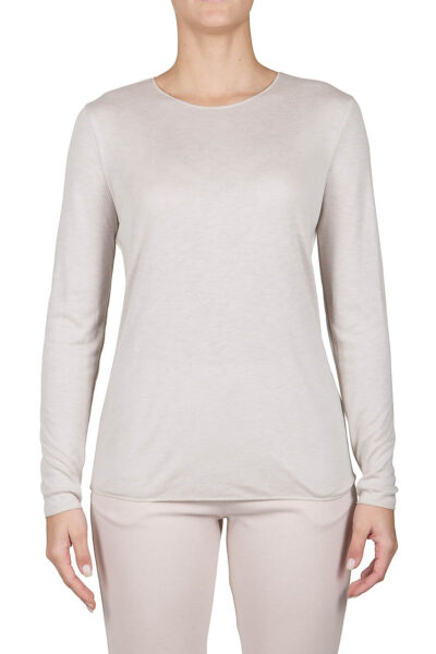 PUROTATTO - 1400 - Round neck long-sleeved t-shirt in double jersey - 001