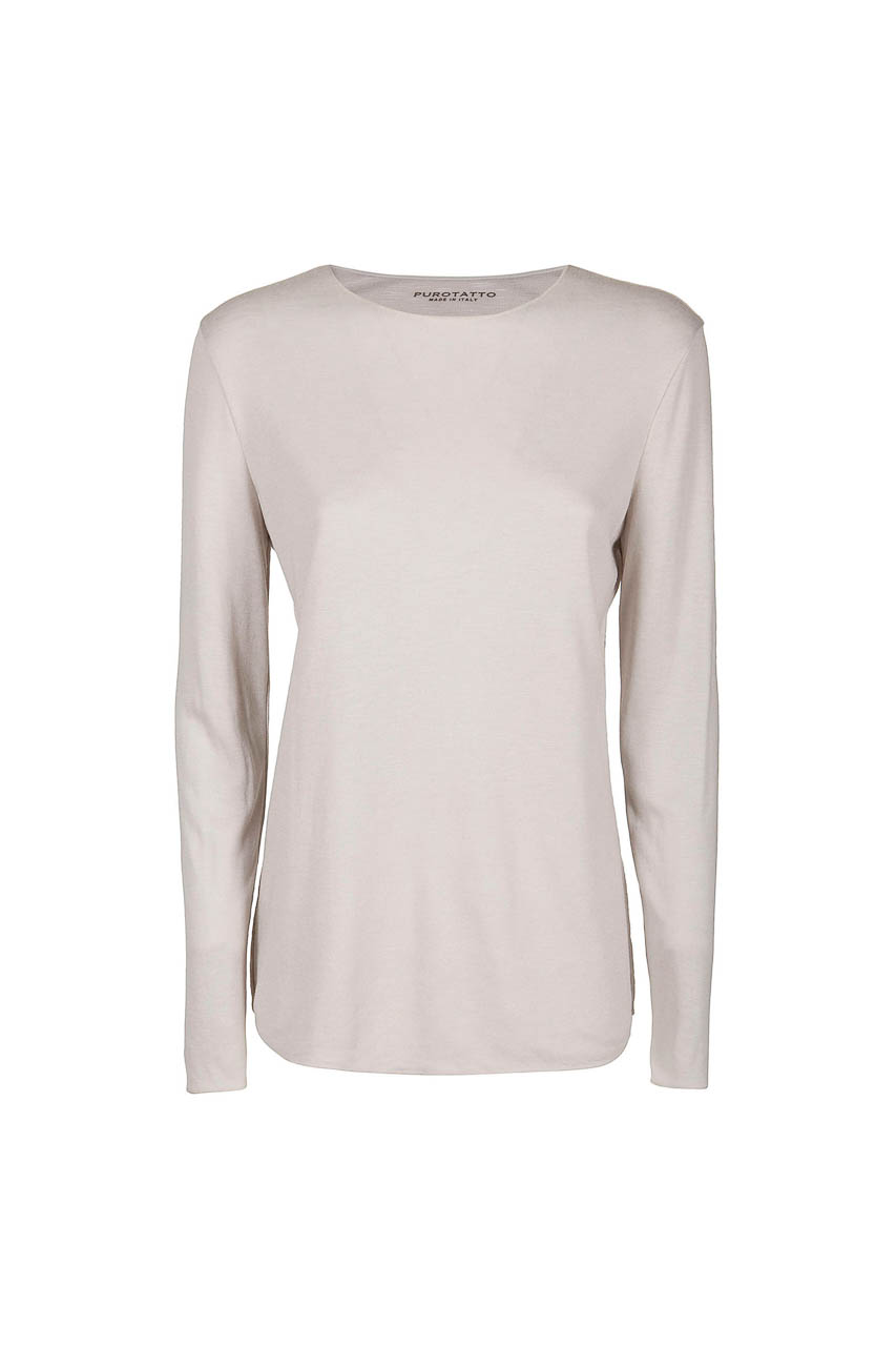 PUROTATTO - 1400 - Round neck long-sleeved t-shirt in double jersey - 002