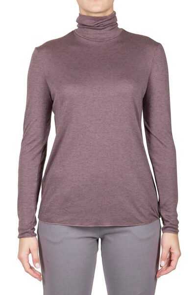 PUROTATTO - 1401 - Turtle neck long-sleeved t-shirt in double jersey - 001